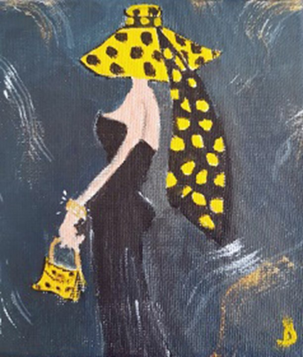 Lady in Yellow Spotted hat