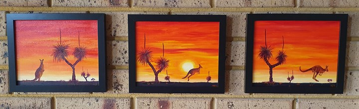 Blackboys and Kangaroo sunset set of 3